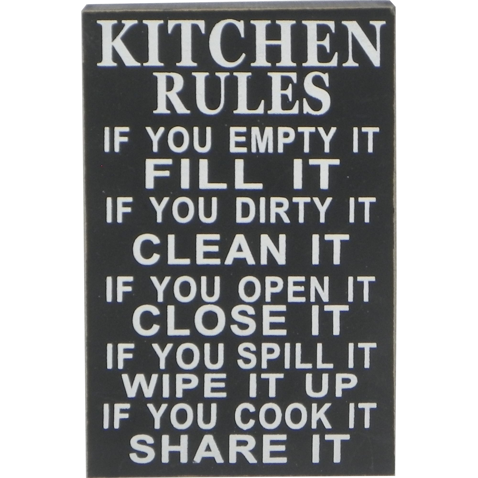 Kitchen Rules Sign in Black  For the Kitchen