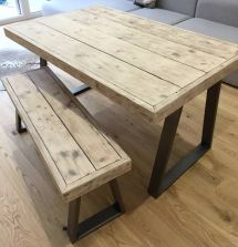 Reclaimed Scaffold Board Dining Table And Bench Set With