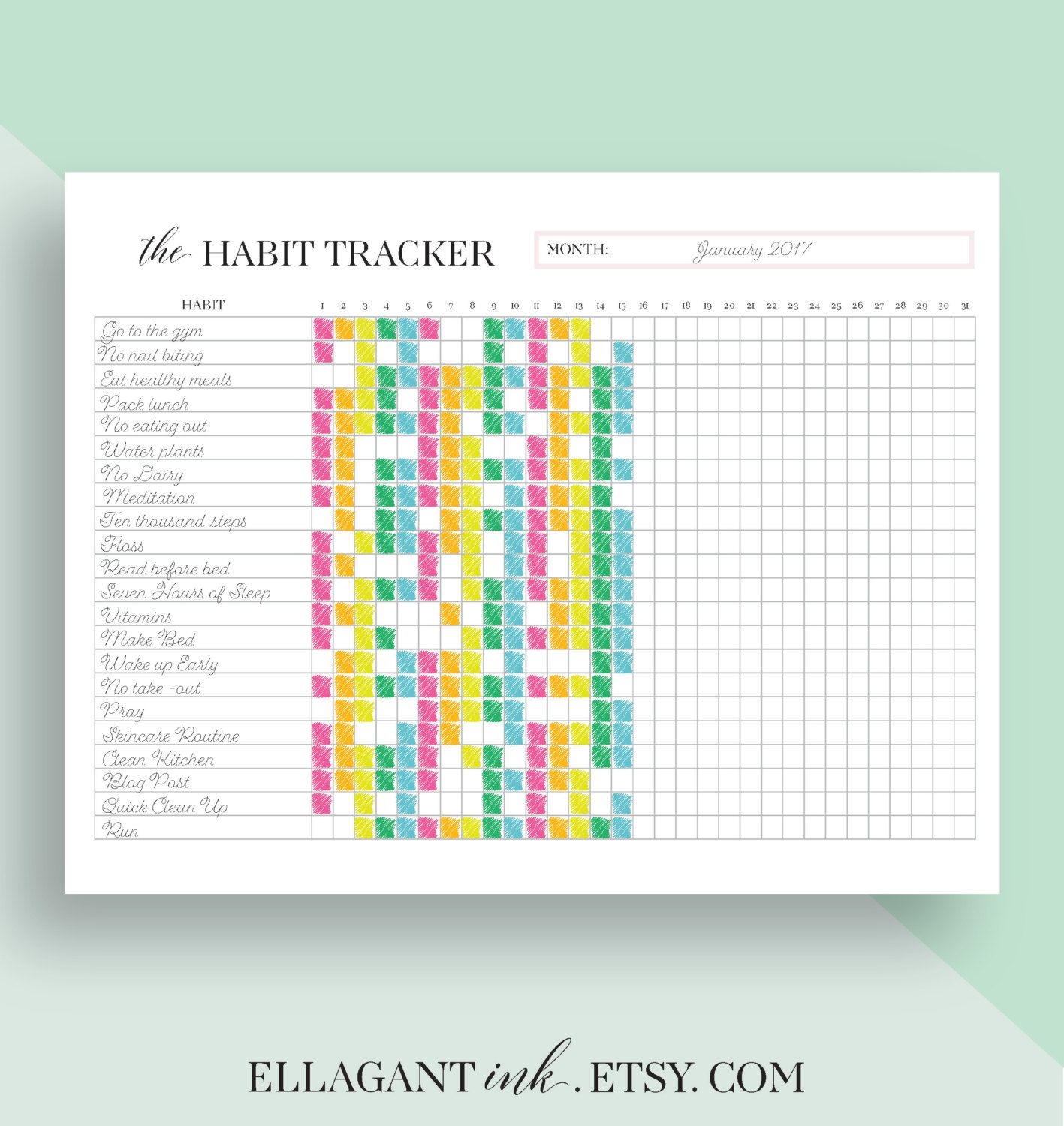 Habit Tracker Printable Daily Habits Planner Planner Inserts A5 A4 Us Letter Size