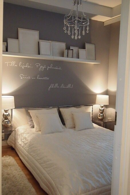 Wall colour all round shelf with gold white and silver frames grey bedding hate the writing on but love also pin by joselyn arrue ideas pinterest bedrooms shelves room rh