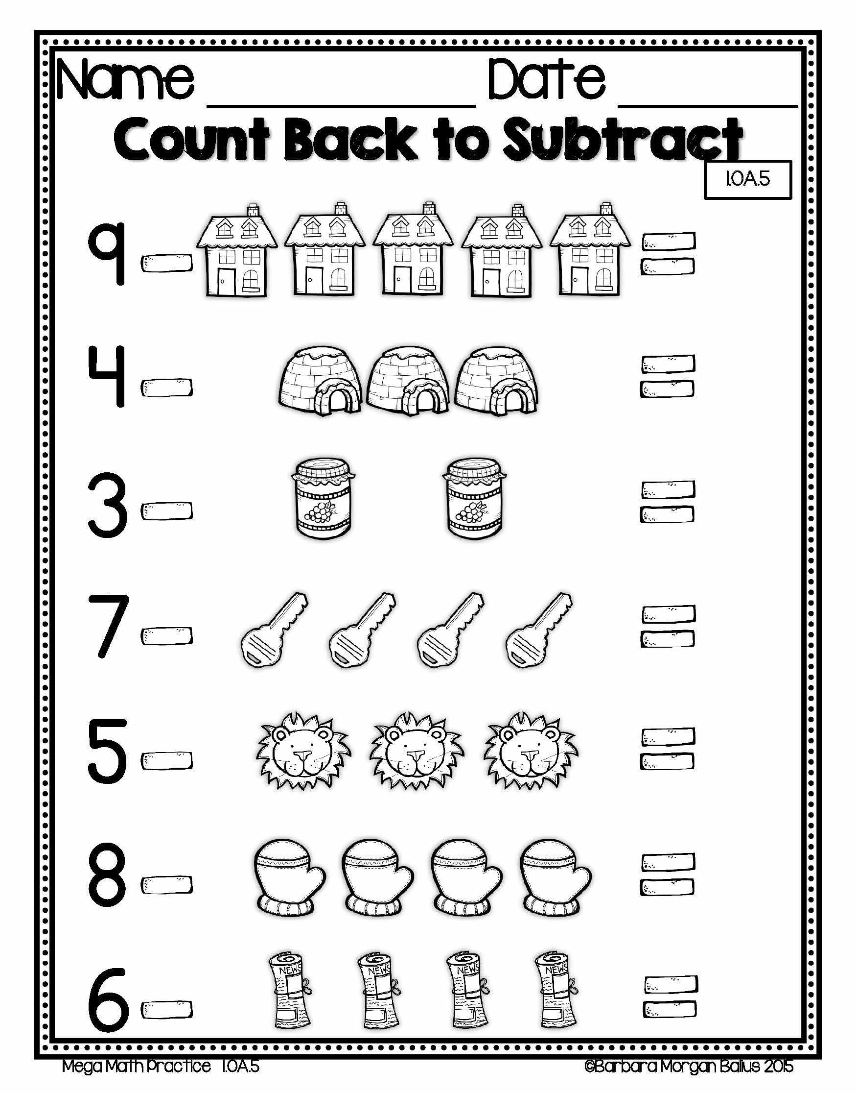 First Grade Math Mega Practice 1 Oa Bundle Operations And
