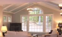 Another pretty ceiling. Vaulted with beams & wainscoting ...