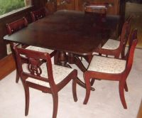 Duncan Phyfe Dining Set with Lyre Back Chair with paw ...