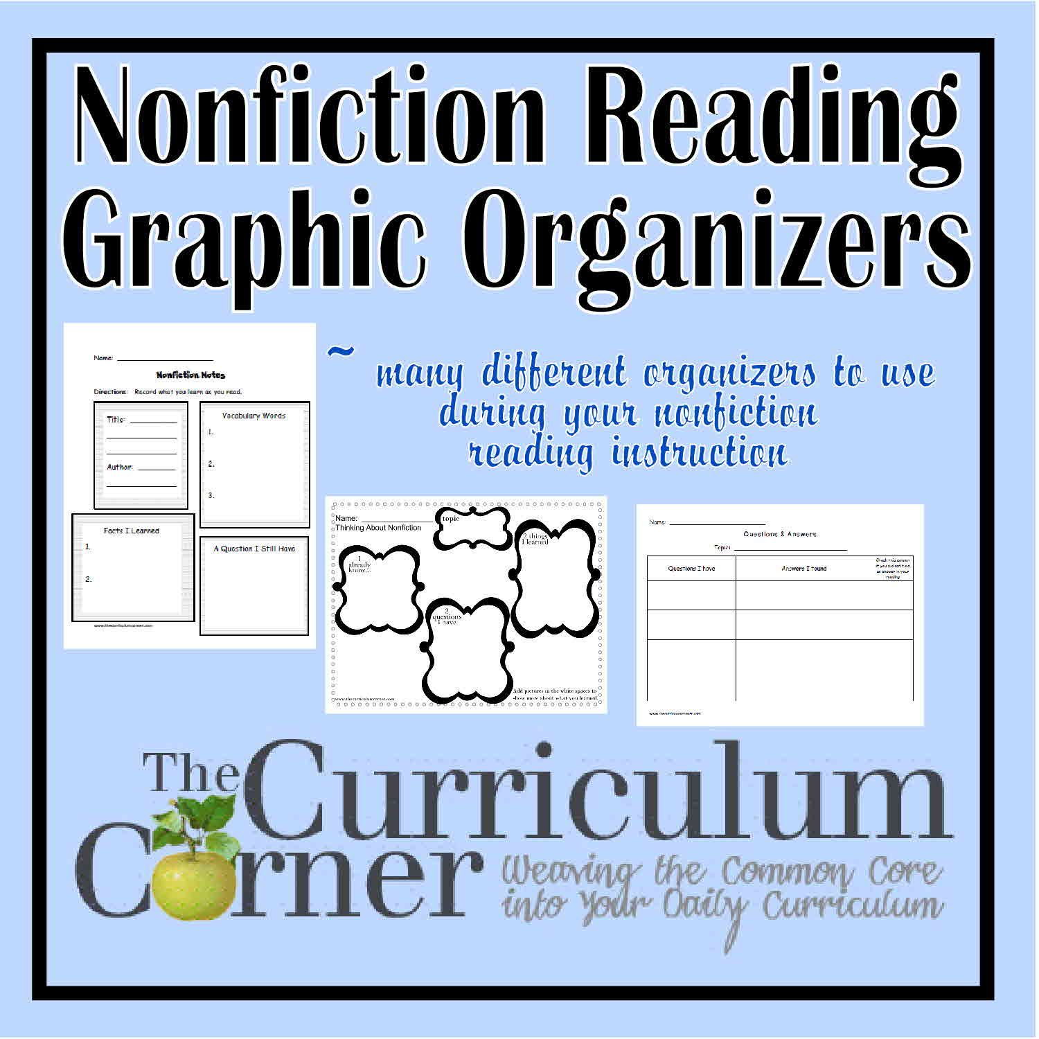 Nonfiction Graphic Organizers For Reading