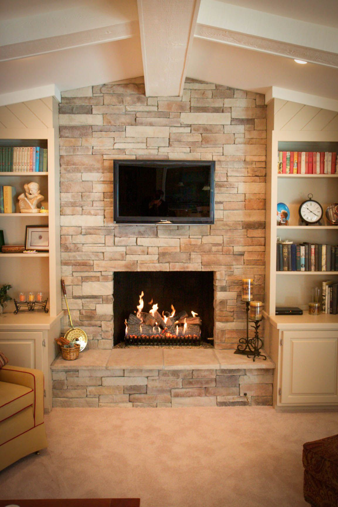 Corner Wood Burning Fireplaces And Tv