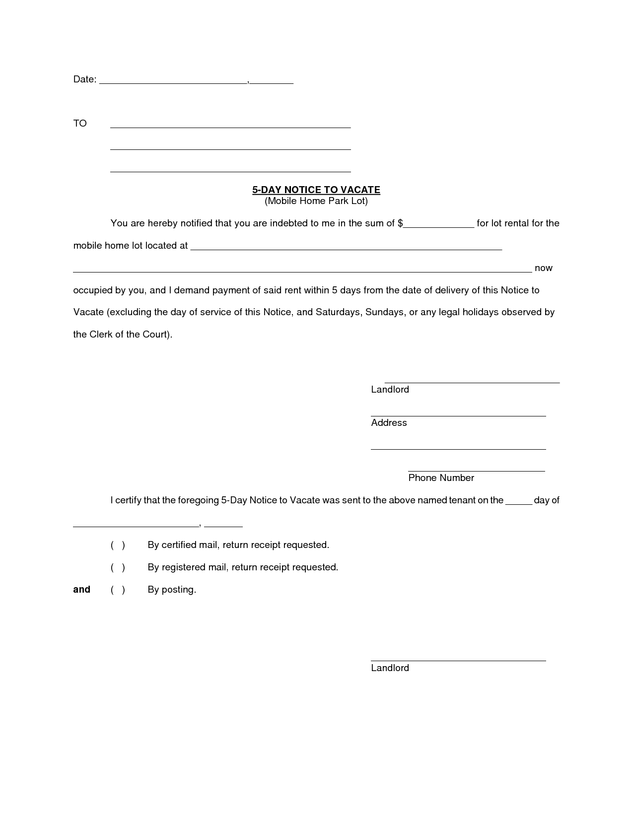 14 Day Eviction Letter Tenant