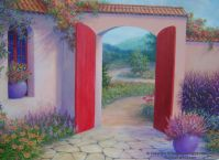 Colorful landscape art, Original painting, Red wall art ...