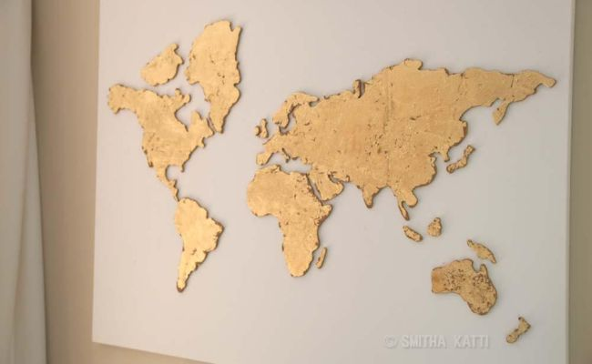 A Simple Diy World Map Wall Art That Is Perfect For A