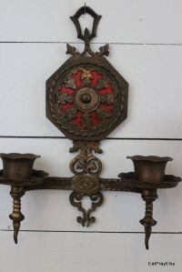 Ornate Brass Wall Sconces Candle Holders Victorian Gothic ...