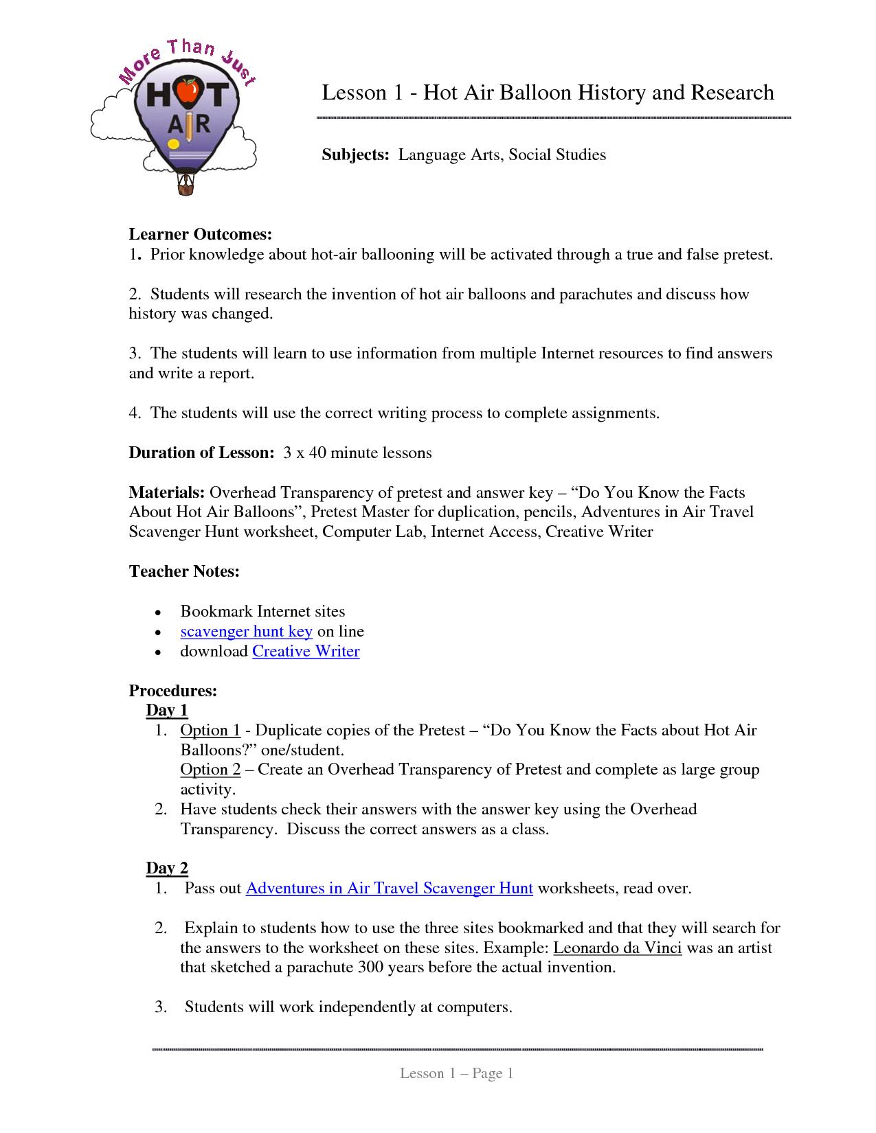 Parts Of A Hot Air Balloon Worksheet