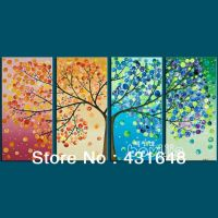 4 season wall art oil painting the tree with four seasons ...