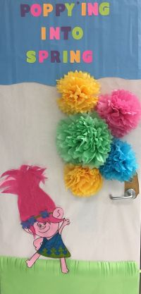 Spring themed door decoration Trolls Princess Poppy | Door ...