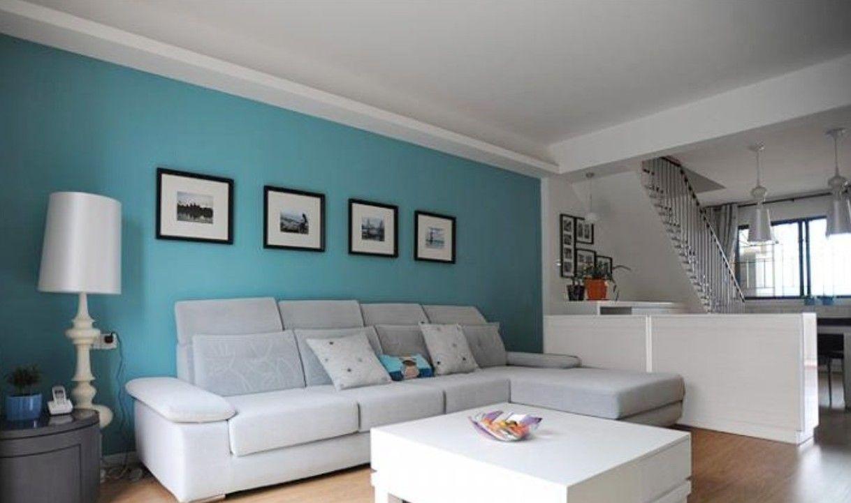 ocean blue walls living room