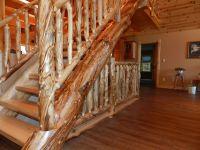 Detailed Log Stairs & Railings