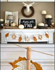 Diy fall mantel decor ideas to inspire also mantels banners and leaves rh pinterest