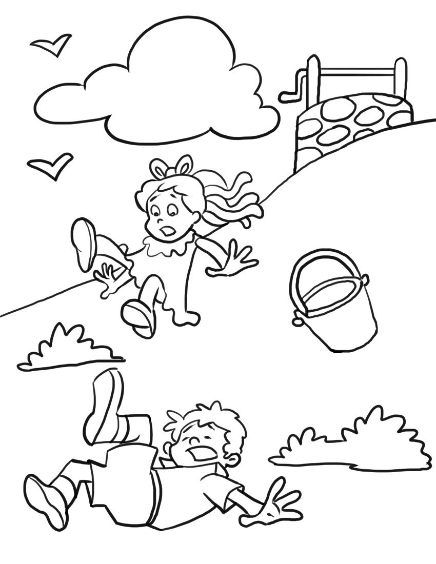 Jack and Jill Nursery Rhyme. Jack and Jill Coloring Page