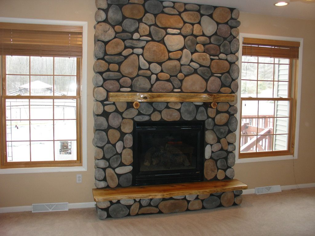 Adirondack Style Fireplace River Rock Cultured Stone And