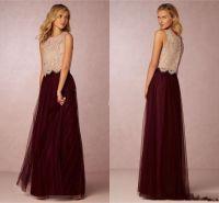 Burgundy Tutu Skirt Bridesmaid Dresses 2016 Champagne Lace ...