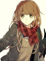 anime girl brown hair curly - t