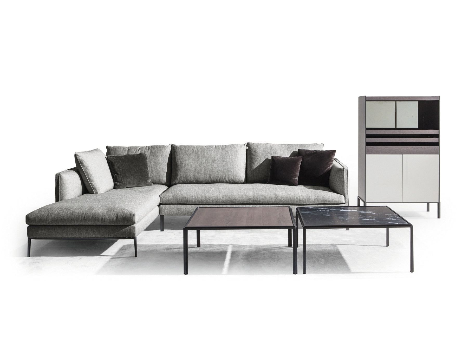 chaise longue fabric sofa 3pc euro design dark gray microfiber sectional paul with by molteni and c