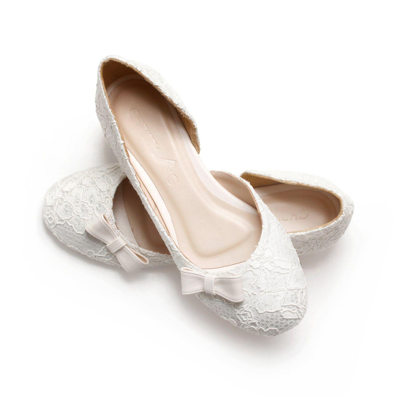 Ivory Lace White Satin Wedding 1 Inch Ballerinas Ivory Lace Satin Bridal Flats Wedding Shoes