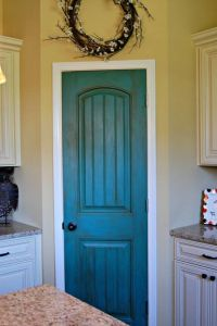 Turquoise/ dry brush DIY pantry door. Great way to add a ...