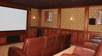 Mahogany Wood Raised Panel Wainscoting in a Theater Room ...