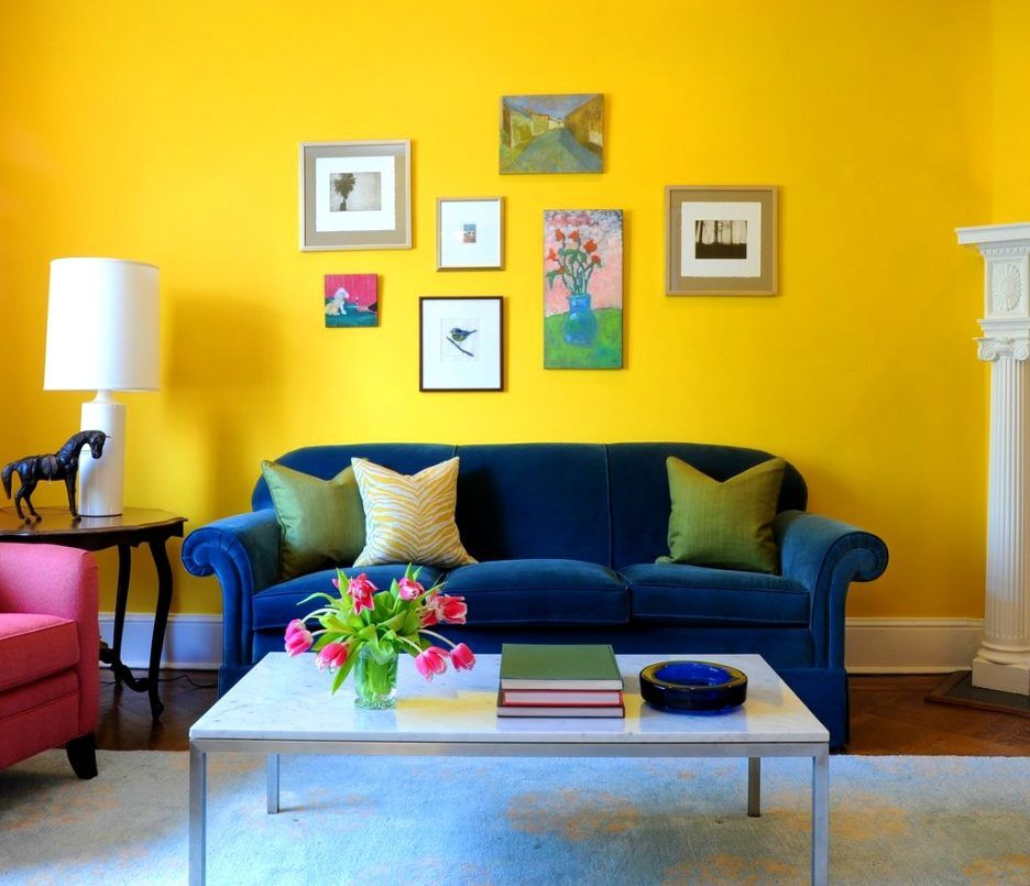 Minimalist living room interior decorating ideas with yellow wall paint color and blue velvet sofa also rh pinterest