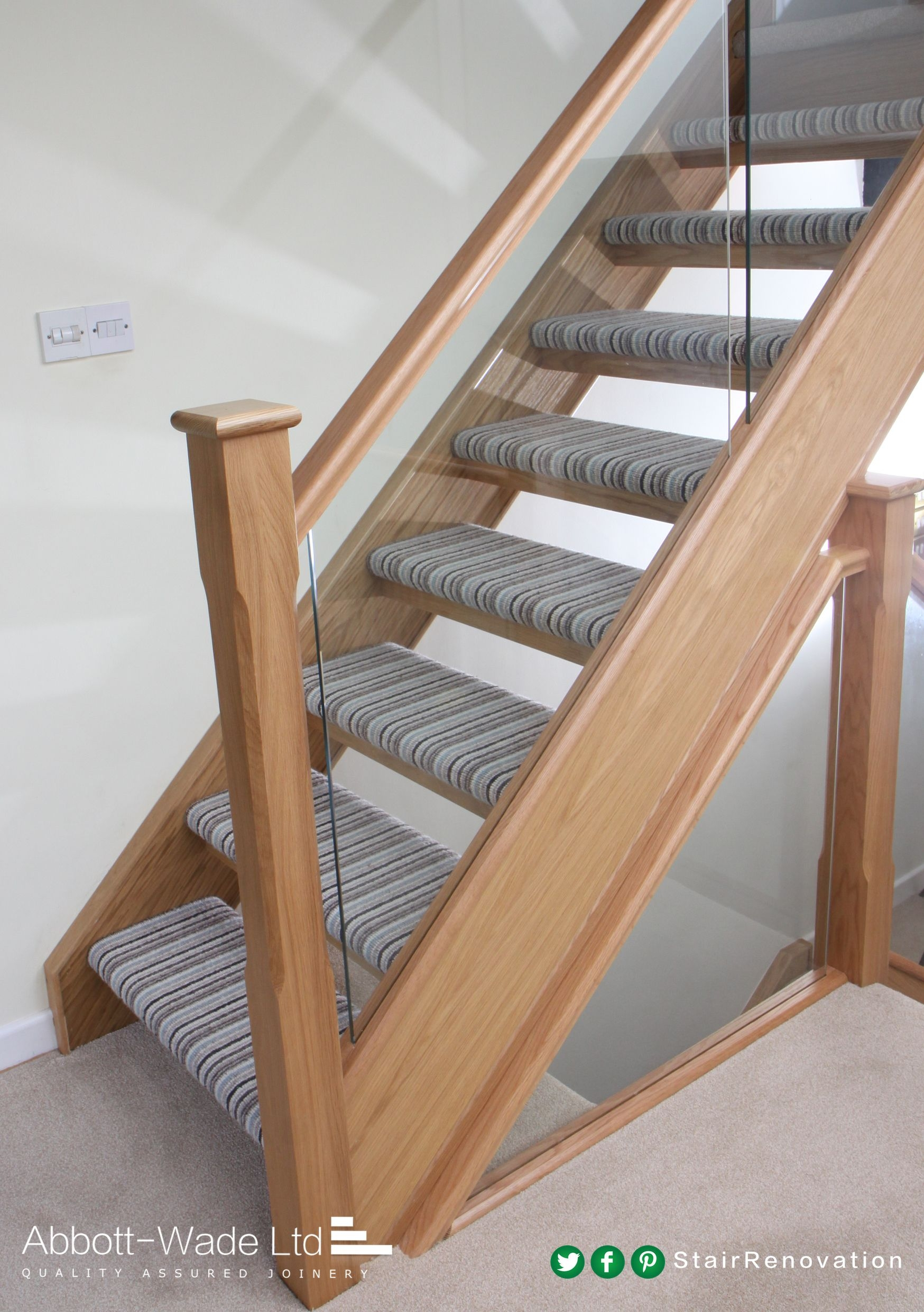 Open Tread Staircase With Striped Carpet Roofspace   Open Tread Staircase Designs