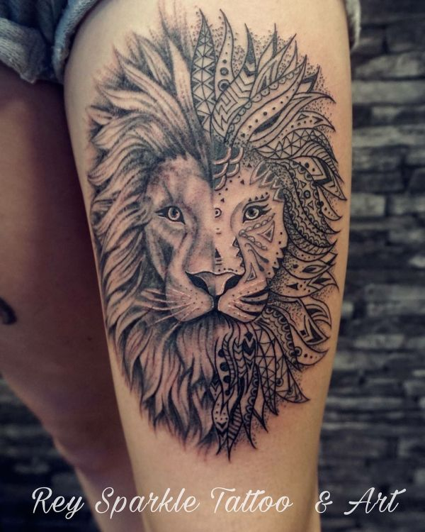 e4464492db3d7 20+ Lion Thigh Tattoo Crown Pictures and Ideas on Meta Networks