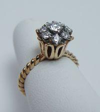Vintage VS-2-SI-1,GH Old European Diamond Tulip Ring 14K ...