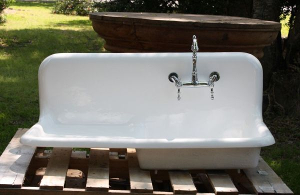 farmhouse kitchen sink with drainboard 1920's Cast Iron Porcelain Drainboard Farmhouse Sink, (42 x 20) Refinished! | Kitchen