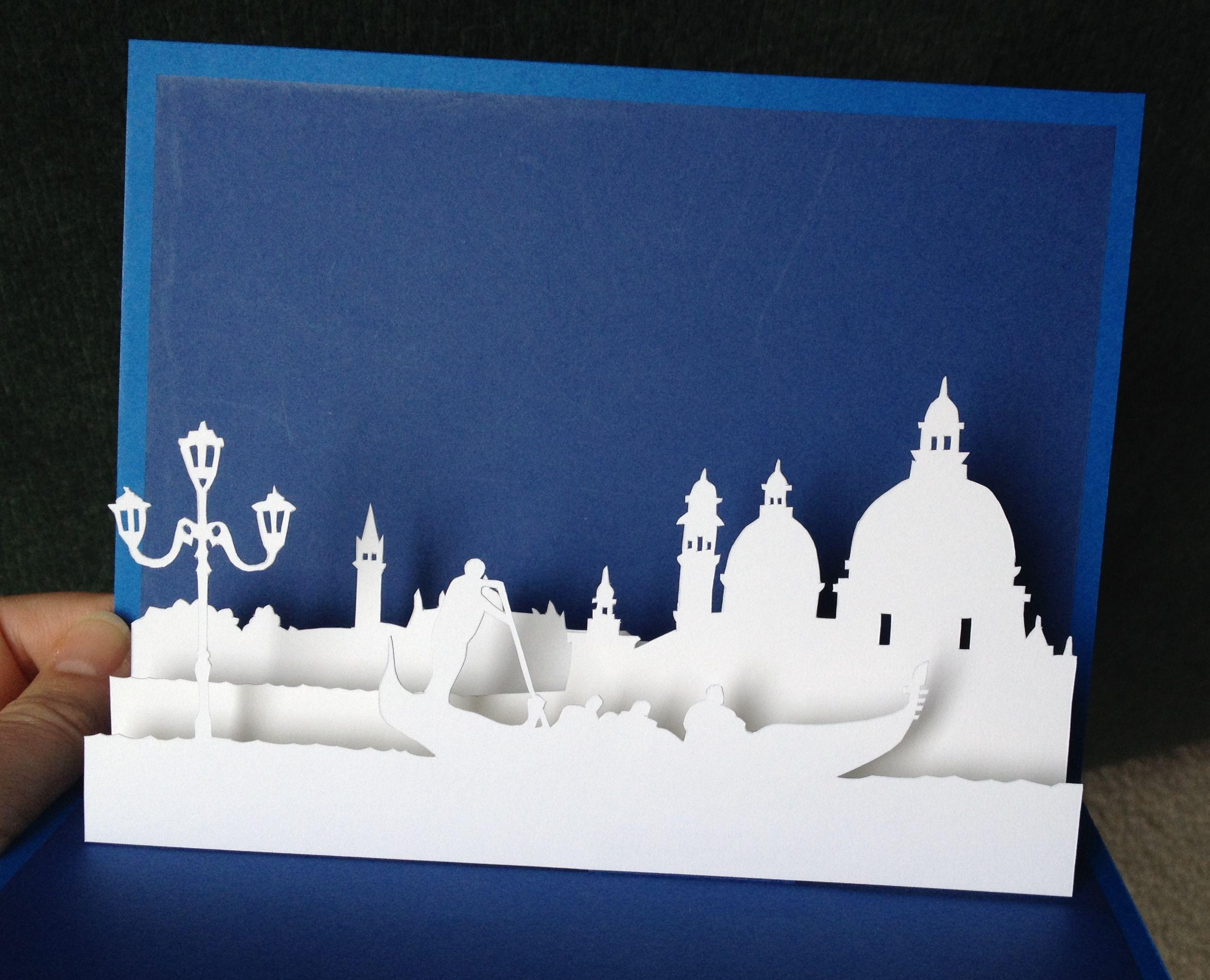 Venice popup card template from paysages en popup  Basteln  Pinterest  Karten einladung