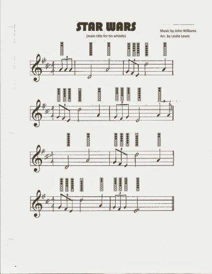 Star Wars theme for tin whistle sheet music with