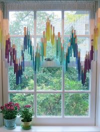Cute window treatment made with craft sticks. | Home Decor ...