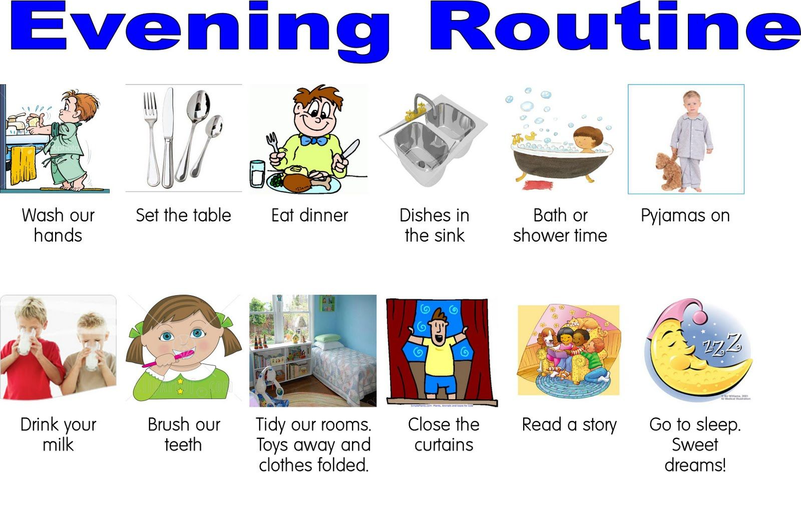 Daily Routine Charts For Kids With Pictures