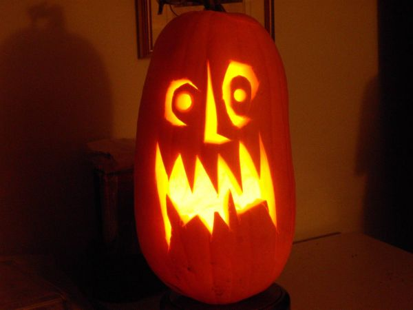 Scary Pumpkin Faces Tall Frightening Face