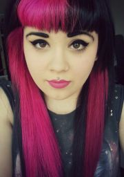 contrast bangs. black and hot pink fuchsia cerise