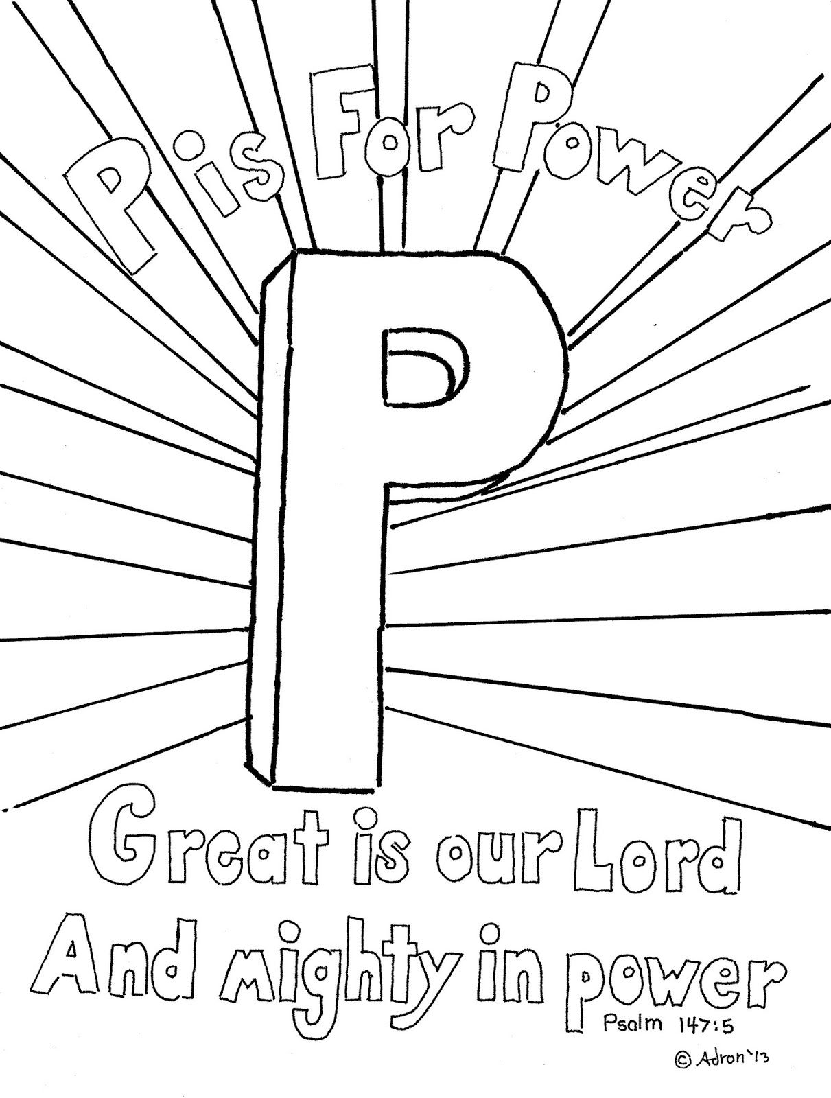 Coloring Pages for Kids by Mr. Adron: P is for Power
