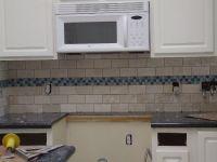 kitchen backsplash white subway tile with blue accent ...