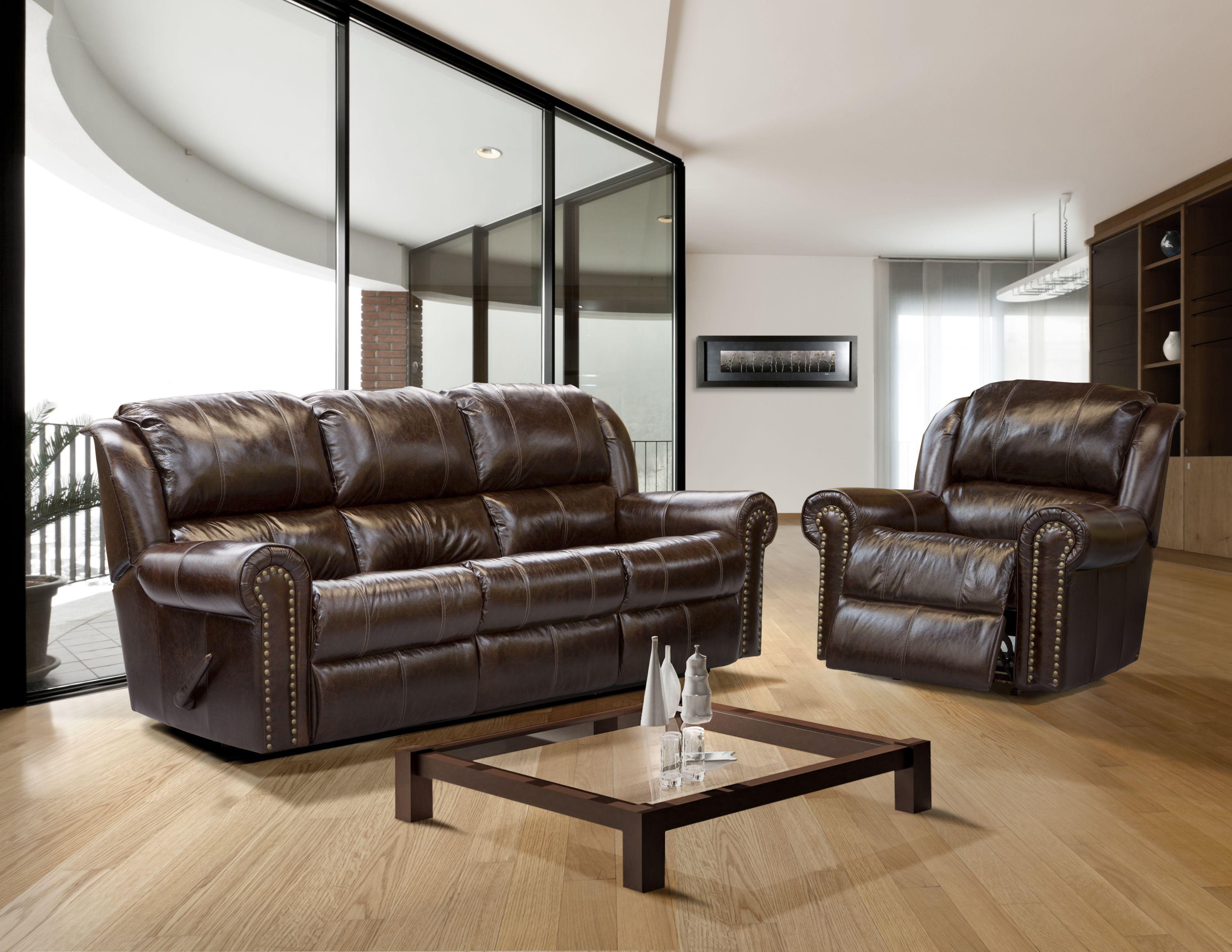 dean reclining sofa ethan allen with chaise leather nail head trim soclassy