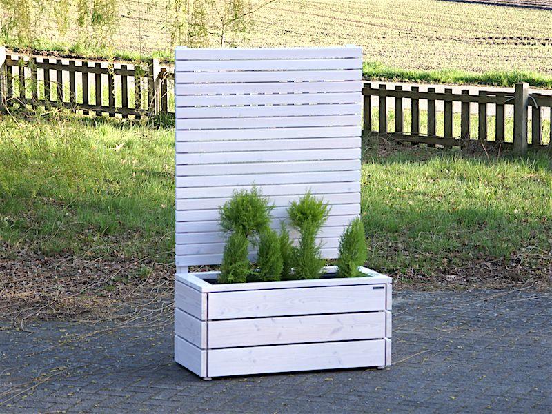 blumenkasten mit sichtschutz aus holz wei transparent made. Black Bedroom Furniture Sets. Home Design Ideas