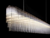 Contemporary chandelier / glass / LED - LINEAR - Tom Kirk ...