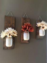 Fall Wall Sconce | Individual Mason Jar Sconce | Flower ...