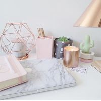 rose gold office supplies / marble office decor / desk ...