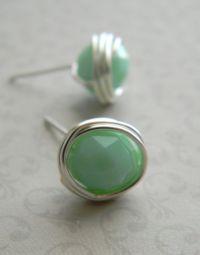 Mint Green Stud Earrings Mint Green Post Earrings by ...