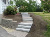 front yard stone walkways | Walkway, Retaining Wall ...