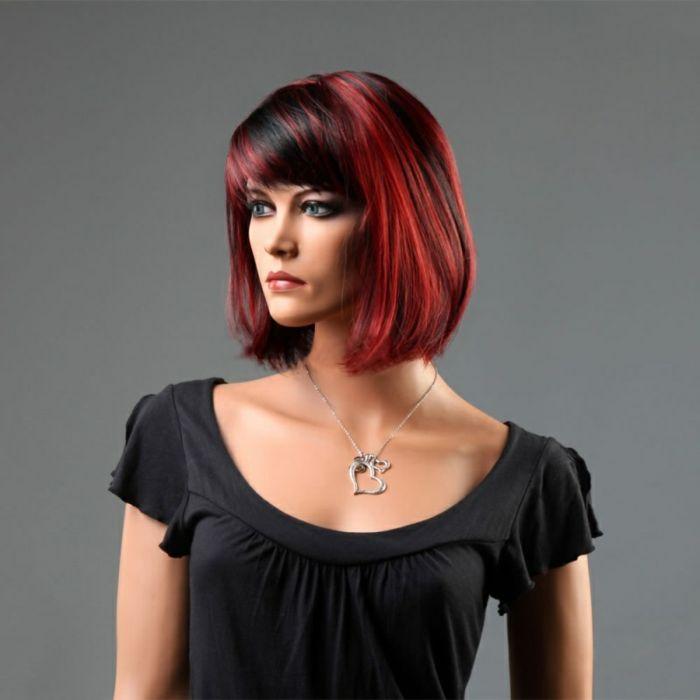 Schwarz Rote Haare Kurze Schicke Frisur Hair Style Pinterest