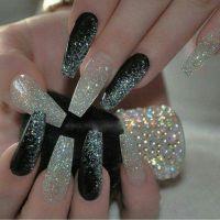 Black and glitter coffin nails | Nails | Pinterest ...