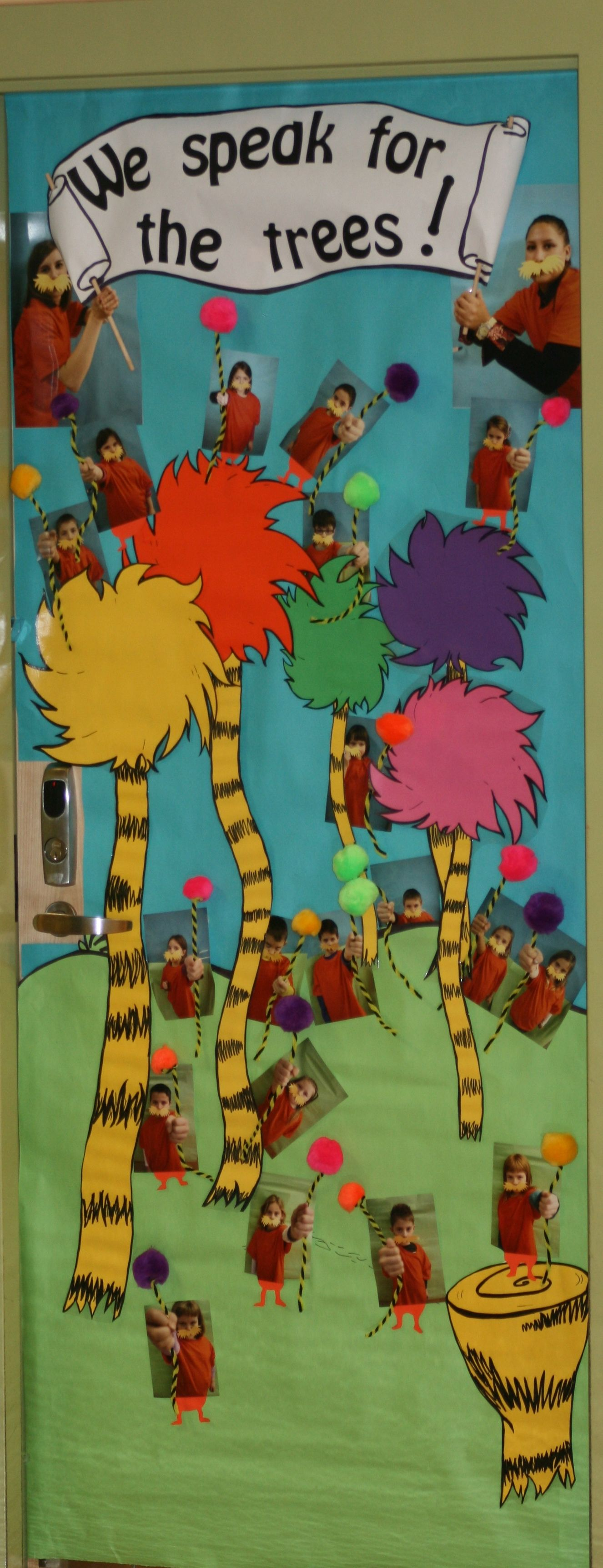 Lorax themed door decor for Reading Month, Dr. Seuss, or